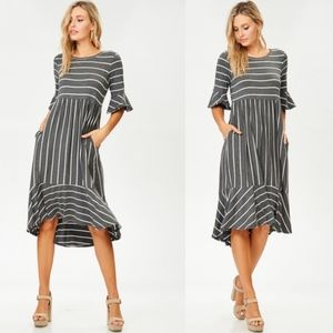 CHARLA Striped Midi Dress - CHARCOAL